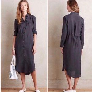 Anthro Maeve charcoal Gray Shirt Dress Petite S